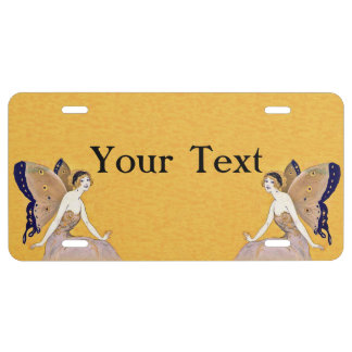 Vintage Butterfly Wings Fairy Fae Blond Hair License Plate
