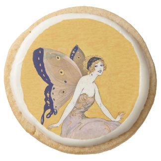 Vintage Butterfly Wings Fairy Fae Blond Hair Round Premium Shortbread Cookie