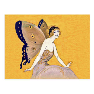 Vintage Butterfly Wings Fairy Fae Blond Hair Postcard