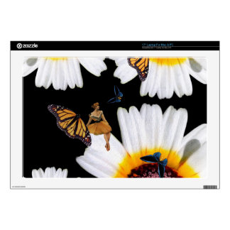 Vintage Butterfly Woman Flowers Laptop Decal