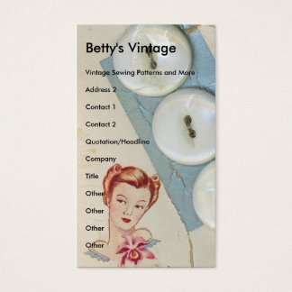 Vintage Buttons, Betty's Vintage Business Card