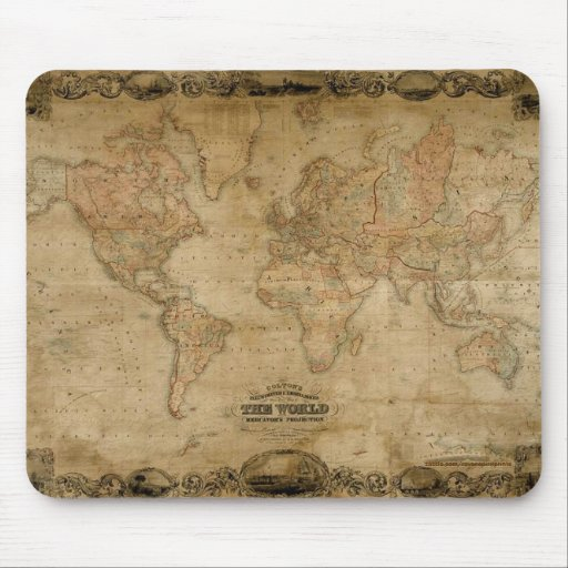 Vintage c1847 Colton's Old World Map Mousepad