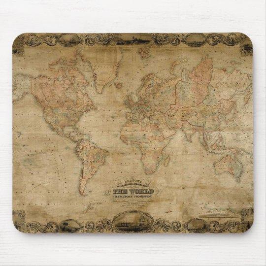 Vintage c1847 Colton's Old World Map Mousepad
