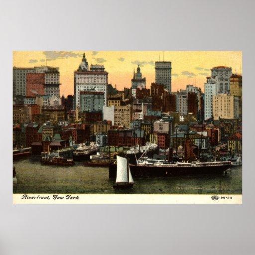 Vintage c1905 de New York City de la orilla del Póster