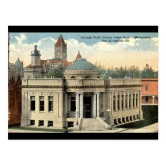 Vintage c1915 de San Bernardino CA de la bibliotec Tarjeta Postal