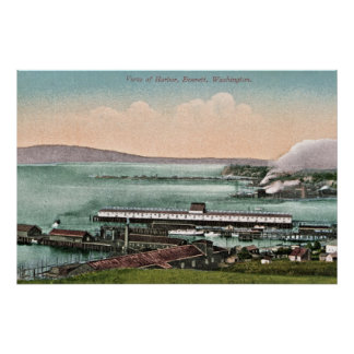 Vintage c 1910 View of Harbor Everett WA Poster