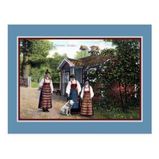 Vintage ca 1900 Skansen Sweden traditional dress Postcard