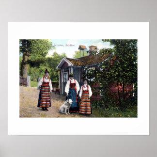 Vintage ca 1900 Skansen Sweden traditional dress Poster