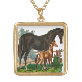 Vintage, caballo negro y pequeño caballo de Brown Colgante Personalizado