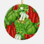Vintage Cabbage Carrots & Leek Collage Veg Design Double-Sided Ceramic Round Christmas Ornament