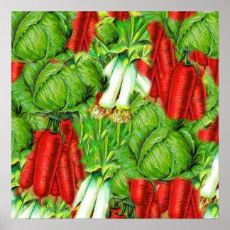 Vintage Cabbage Carrots & Leek Collage Veg Design Posters