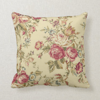 Vintage Cabbage Rose Design Throw Pillow