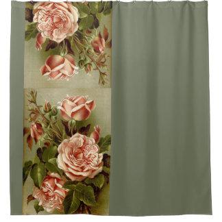 Elegant Vintage Cabbage Rose Flowers Floral Garden Shower Curtain