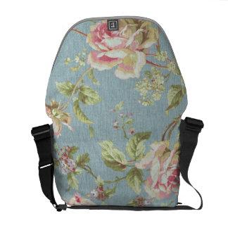 Vintage Cabbage Rose Pink Blue Messenger Bag