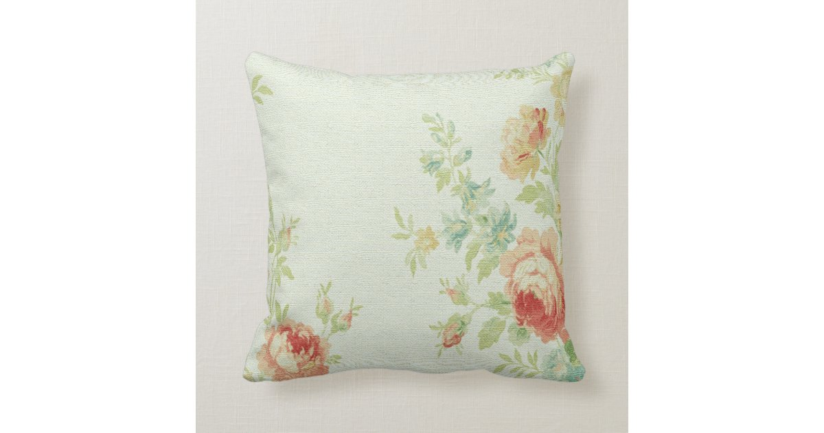 Vintage Cabbage Rose Throw Pillow-Pale Pink/Peach Pillow Zazzle