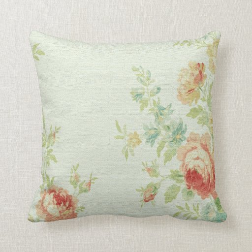 Vintage Cabbage Rose Throw Pillow-Pale Pink/Peach Throw Pillow Zazzle
