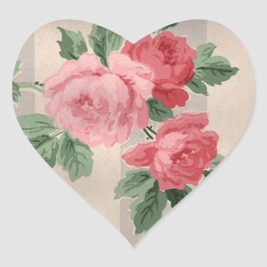 Vintage Cabbage Rose Wallpaper Heart Sticker
