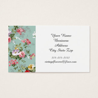 Vintage Cabbage Roses and Lilacs Business Card