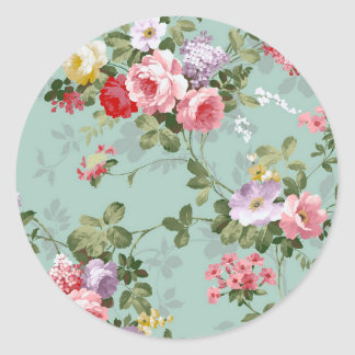Vintage Cabbage Roses and Lilacs Classic Round Sticker