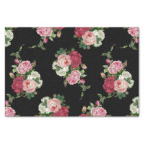 Vintage Cabbage Roses-Black Background Tissue Paper