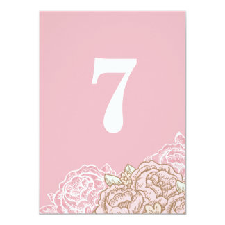 Vintage Cabbage Roses Table Numbers Invite