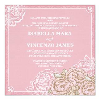 Vintage Cabbage Roses Wedding Invitation