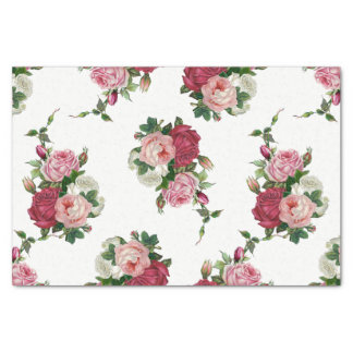 Vintage Cabbage Roses-White Background Tissue Paper