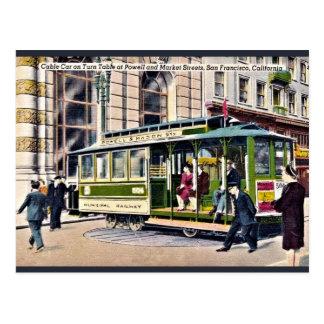 vintage Cable car turn table San Francisco, CA Postcard