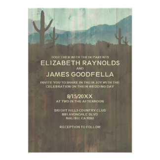 Vintage Cactus Wedding Invitations Card