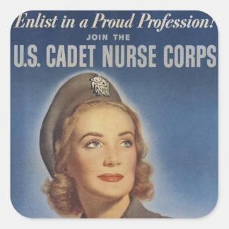 Vintage Cadet Nurses Square Sticker