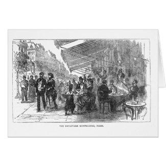 Vintage Cafe Boulevard Montmartre Paris Card