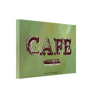 Vintage Cafe Kitchen Canvas Print - Brushed Green