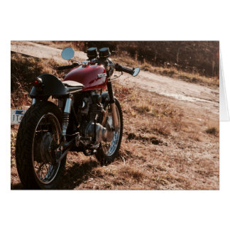 Vintage Café Racer in Cranberry Field Card