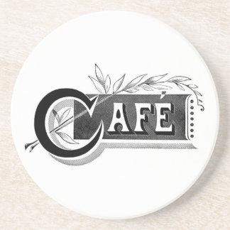Vintage Cafe Sandstone Drink Coaster