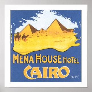 Vintage Cairo Egypt Hotel Travel Poster Print