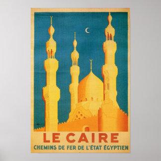 Vintage Cairo Travel Advertisement Poster