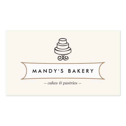 Vintage Cake Logo I For Bakery Cafe Catering Business Card Templates
