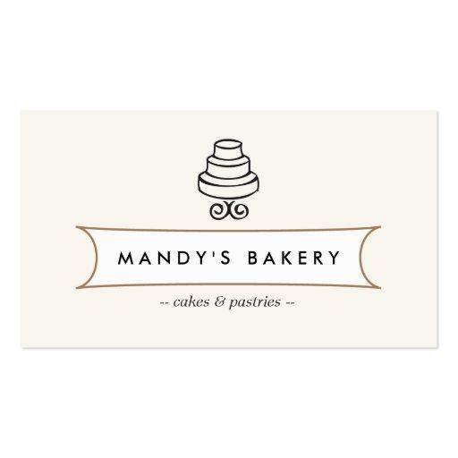 VINTAGE CAKE LOGO I for Bakery, Cafe, Catering Business Card Templates (front side)