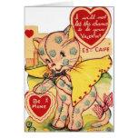 Vintage Calico Cat Valentine's Day Greeting Card