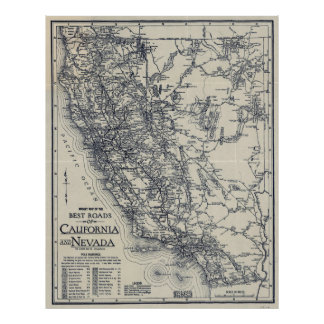 Vintage California and Nevada Road Map (1920) Poster
