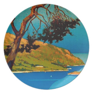 Vintage California Coast Travel Party Plate