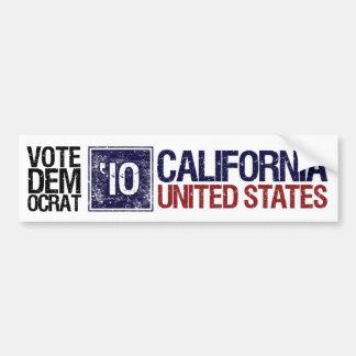 Vintage California de Demócrata del voto en 2010 - Pegatina De Parachoque