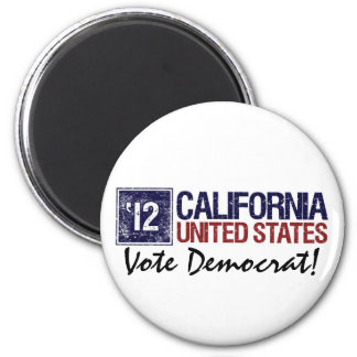 Vintage California de Demócrata del voto en 2012 - Imán Redondo 5 Cm