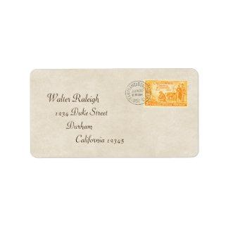 Vintage California de 'etiqueta de dirección 50