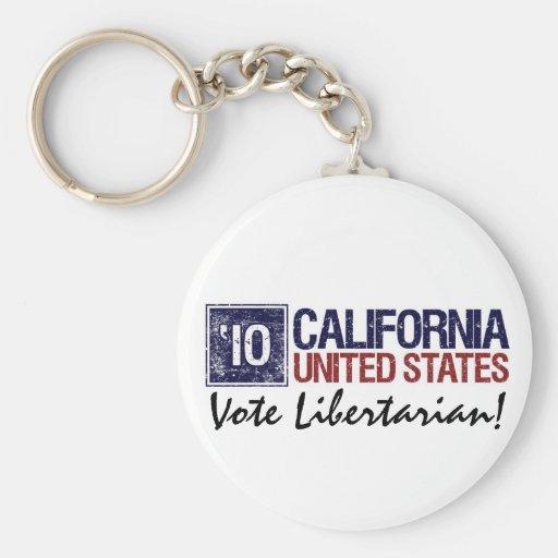 Vintage California del libertario del voto en 2010 Llaveros Personalizados