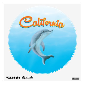 Vintage California Dolphin travel poster Wall Decal