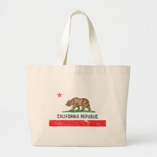Vintage California Flag Large Tote Bag