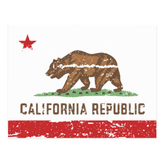 Vintage CALIFORNIA Flag Postcard