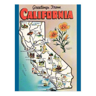 Vintage California Map USA Tourism Postcard