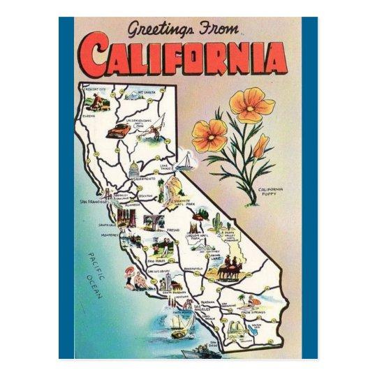Vintage California Map USA Tourism Postcard
